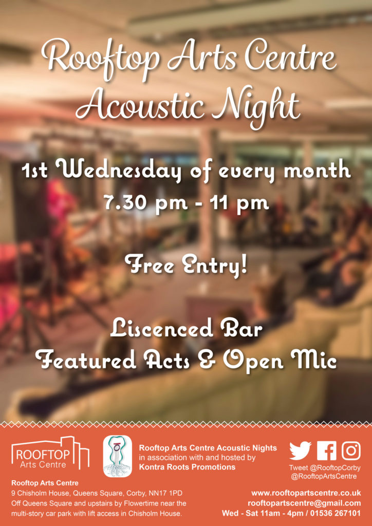 Poster advertising Acoustic Nights at the Rooftop Arts Centre