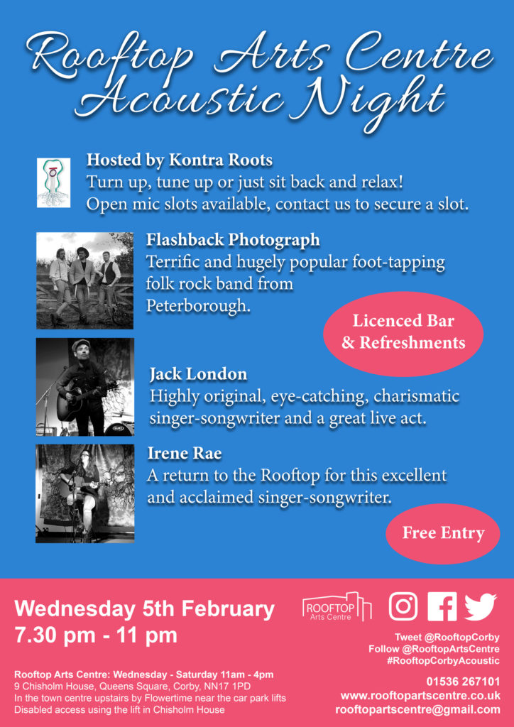 Poster for Acoustic Night with Flashback Photograph, Jack London, and Irene Rae